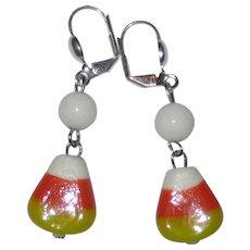 Lampwork Glass Candy Corn Earrings - White Beads