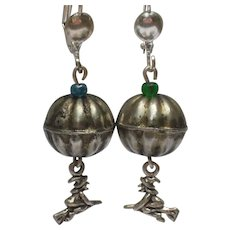 Pumpkin Earrings with Little Witches