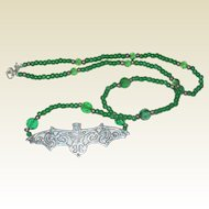 Beaded Bat Necklace in Gruesome Green - 18""