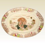 Mid-Century Transferware Thanksgiving Turkey Platter - Made in Japan