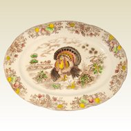 Colorful Mid-Century Transferware Thanksgiving Turkey Platter - Made in Japan