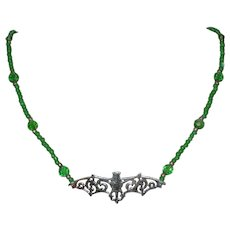 """Beaded Bat Necklace in Gruesome Green - 18"""""""