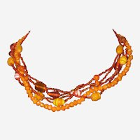 Pumpkin Colored Glass Multi-Strand Necklace