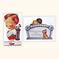 Two Amusing Valentines from the 1930's- Little Golfer and So-Fa, So Good
