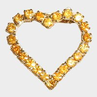 1960's Golden Yellow Rhinestone Valentine Heart Pin