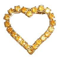 1960's Golden Yellow Rhinestone Valentine Heart Pin