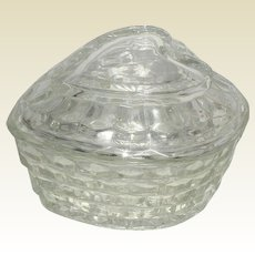 Large Homco Glass Heart Shaped Bowl with Lid