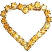 Dark Yellow Rhinestone Valentine Heart Pin