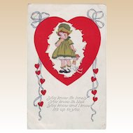 Valentine Postcard - Lonely Girl Lonely Girl - 1918