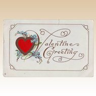 Vintage Valentine Postcard - Red Heart and Forget-Me-Nots 1913