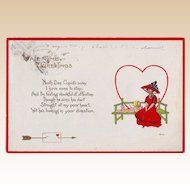 1915 Valentine Postcard - Lady with a Red Hat and Dress