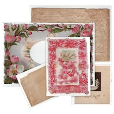 Six Paper Pieces from Victorian Valentines for Repair or Crafts