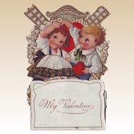 1920's Stand-Up Valentine - Children and Windmill