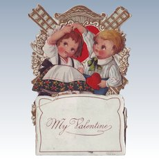 1920's Stand-Up Valentine - Children and Windmill
