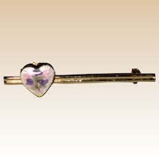 Bar Pin with Guilloche Heart Locket