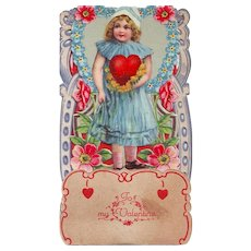 1920's Stand-up Valentine - Girl in a Blue Dress