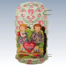 Petite 1920's German Folding Stand-Up Valentine - Shy Girl
