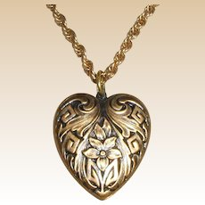 Gold-Tone Embossed Heart Shaped Pendant with Violets