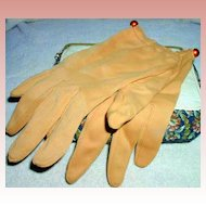 1950's Tan Cotton and Polyester Gloves