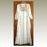 Traditional Vintage Palestinian Embroidered Arab Dress - White