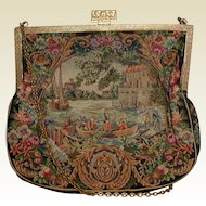 Exquisite Petite Point Purse with Figural Lake Scene