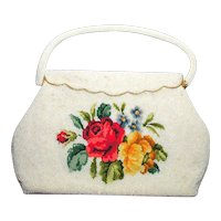 White Beaded Purse Handbag with Needlepoint Tapestry Roses