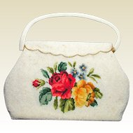 White Beaded Handbag with Needlepoint Tapestry Roses