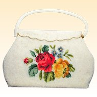 White Beaded Handbag with Needlepoint Tapestry Roses