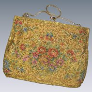 Du Val Hand Beaded Tapestry Floral Evening Purse