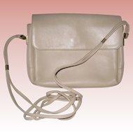 Ganson Bone White Leather Handbag with Shoulder Strap