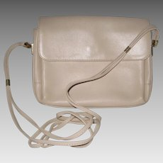 Ganson Bone White Leather Handbag with Shoulder Strap