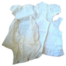Handmade Child, Infant or Large Doll -  Cotton Embroidered Dress, Slip and Bib - Circa 1900