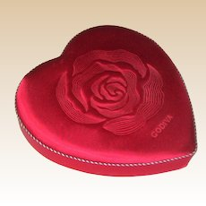 Vintage Godiva Chocolate Satin Heart Shaped Candy Box with Trapunto Rose