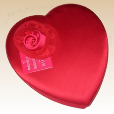 Vintage Godiva Chocolate Satin Heart Shaped Candy Box with Satin and Tulle Rose