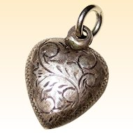 Victorian Art Nouveau Sterling Silver Puffy Heart Charm with Engraved Acanthus Leaf Design