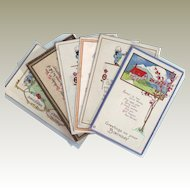 Six Vintage Birthday Postcards with Country Scenes - 1908 - 1916