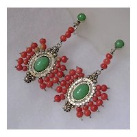 Coral & Imitation Jade Silver Pendant Earrings