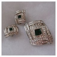 Signed Puccini Deco Style Emerald Rhinestone Brooch & Earrings Set
