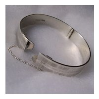 Vintage Monomil Sterling Silver Hinged Bangle with Unique Locking Mechanism