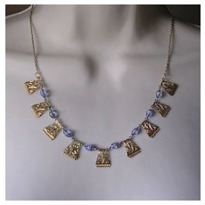 Art Deco Egyptian Style Blue Glass Necklace