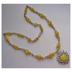 Art Deco Gold Filled Yellow Satin Glass & Rhinestone Heart Pendant Necklace
