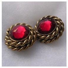 Signed Butler & Wilson Garnet Rhinestone Clip Earrings