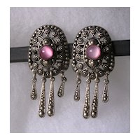 Czech Art Deco Pink Satin Glass Earrings