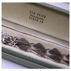 Signed 800 Silver Modernist Bark Effect Link Collar Necklace