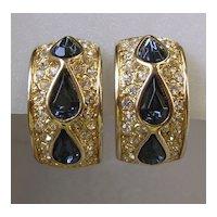 Sapphire Rhinestone Half Hoop Earrings Signed Leritz