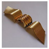 Large Art Deco Ribbed Metal Belt Clasp