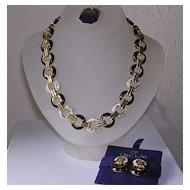 Vintage Crystaline Enamel & Crystal Collar Necklace & Earrings