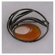 Sterling Silver Amber set Brooch