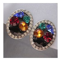 Signed Askew Multicolor Rhinestone Earrings