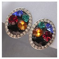 Signed Askew Multicolor Rhinestone Earrings